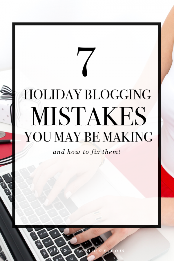 7 holiday blogging mistakes you may be making and how to fix them | Girl in red dress typing on laptop | Glitz-Grammar.com