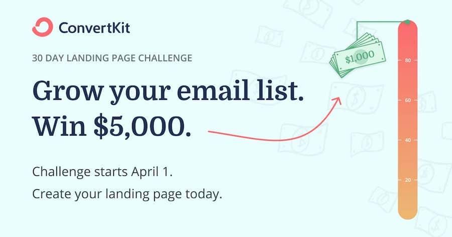 convertkit 30 day landing page challenge