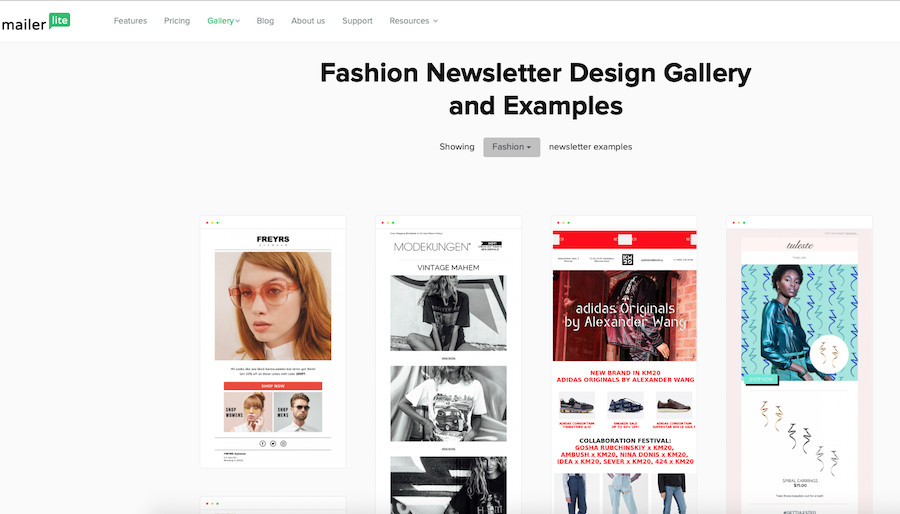 mailerlite email templates fashion