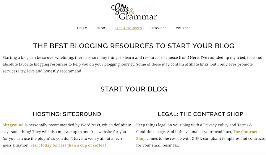 blogging resources page