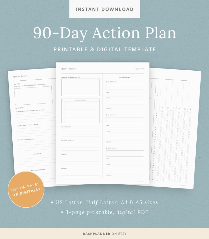 90-day action plan digital planner template