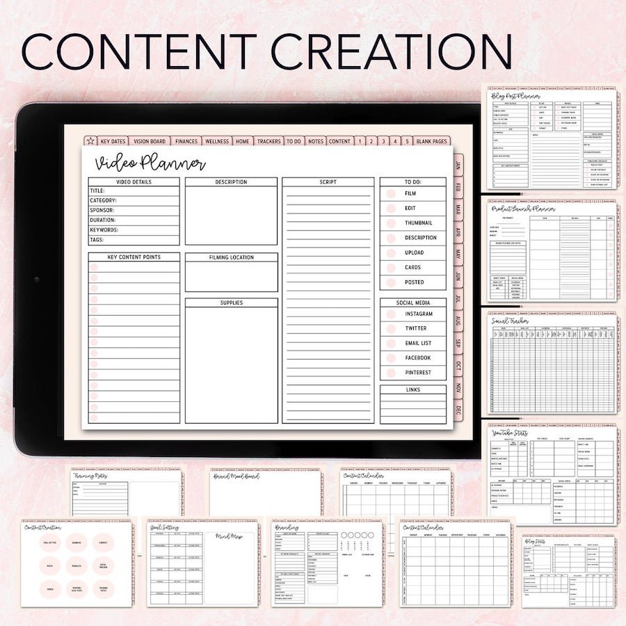 digital content planner for bloggers, youtube, business