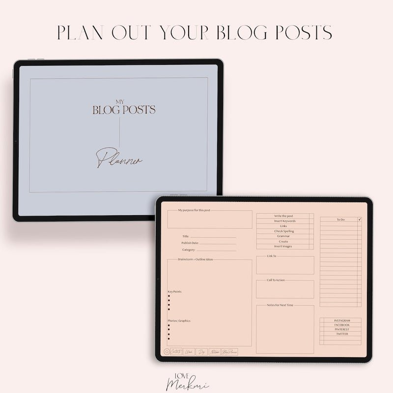 pretty digital blog post planner